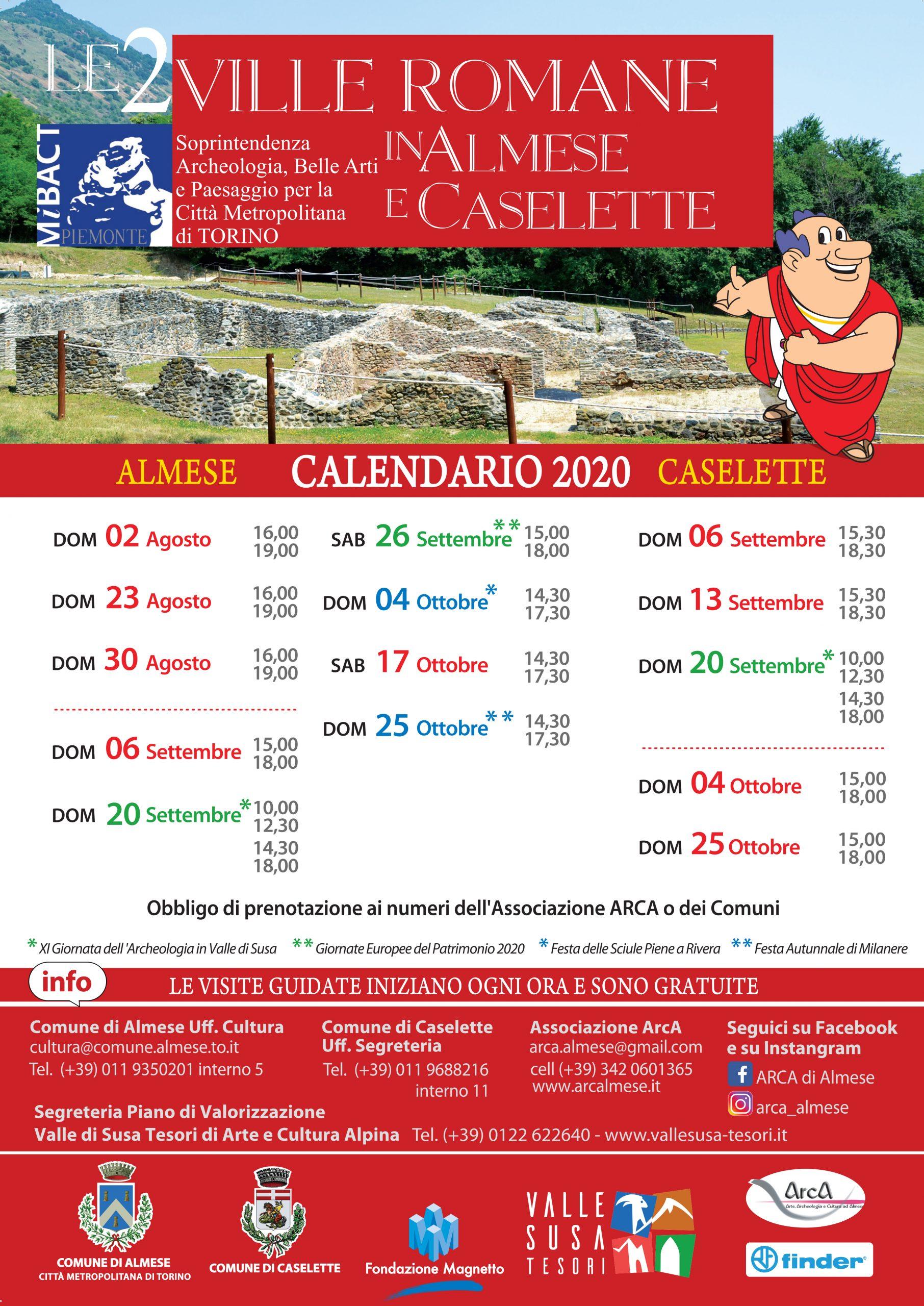 Calendario visite guidate 2020